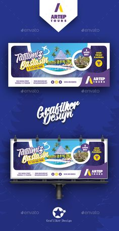 Travel Tour Billboard Templates by grafilker Fully layeredINDDFully Dpi, CMYKIDML format openIndesign or laterCompletely editable, print ready Text/Font or C Bilboard Design, Creative Design, Graphic Design, Travel Brochure Design, Travel Agency Website, Banner Design Inspiration, Facebook Cover Design, Signage Design, Web Layout