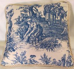 Toile and Blue Denim French Pillow- I have always loved this print.