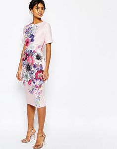 ASOS | ASOS Textured Wiggle Dress In Placement Floral Print at ASOS