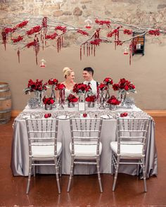 red and grey wedding | Holiday Inspired Wedding Photoshoot in Silver & Red | Wedding ...