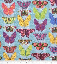 Keepsake Calico Fabric- Butterflies Wings Multi