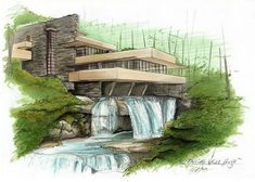 """498 Likes, 2 Comments - ARCHITECTURE   LINETYPE (@linetype) on Instagram: """"Falling water house amazing by @steviepoep _______________________________ #Bestsketch…"""""""