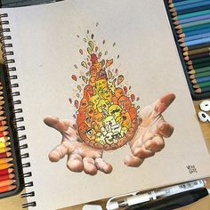 Extremely creative piece by @vexx_art using color pencils and ink! . Follow the artist: @vexx_art #artbotic # #hands #pencil