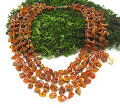 Chainmaille necklace Natural Amber Baltic amber by SanaGem on Etsy