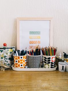 orla kiely plant pots as stationery storage