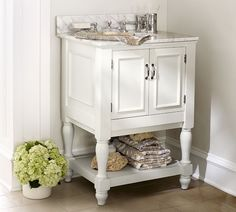 Newport Single Mini Sink Console - White | Pottery Barn.  26 inches wide 22 inches deep 40 inches high