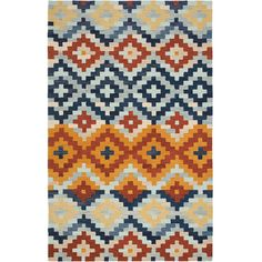 Add a pop of pattern to your living room or den with this hand-hooked wool rug, showcasing a multicolor diamond motif.  Product: