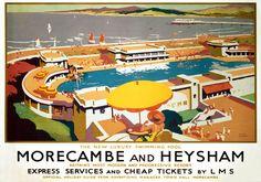 Morecambe vintage railway poster art.