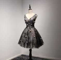 V Neckline Short Black Lace Homecoming Prom Dresses, Short Party Prom – SposaDesses
