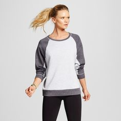 Women's Activewear Sweatshirt - Heather Gray/Indigo Screen Xxl - C9 Champion