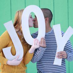 Joy Holiday Card Portrait Photo Prop Big Letters
