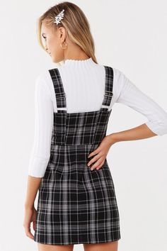 A woven mini pinafore dress featuring an allover plaid pattern, square neck, adjustable shoulder straps, and an exposed front pull-ring zip closure. Plaid Outfits, Cute Casual Outfits, Plaid Dress, Dress Outfits, Dresses, Overalls Outfit, Denim Outfit, Pinafore Dress Outfit, Sixth Form Outfits