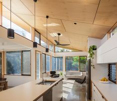 Leopold Crescent — Black and White — Kitchen Renovation & Custom Kitchen Designs Kitchen Interior, House Design, Timber Ceiling, House, Home, Skillion Roof, Custom Kitchens Design, Plywood Interior, Roof Design