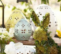 pottery barn punched ceramic lantern | Pottery Barn Pierced Ceramic Egg Small Blue Beautiful Easter Decor Get ...
