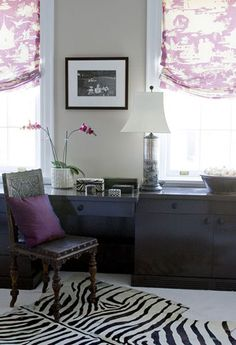 window panel idea plus molding around windows @Desiree Nechacov Colborn Grey room with purple accents seems to look alot better than purple everything.  Or a taupe with purple accents.