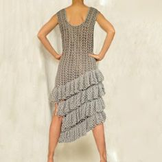 Gray Crochet Dress with Ruffles by subrosa123 on Etsy, €200.00