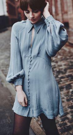Blue button-up dress