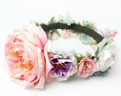 Pastel Silk Flower Halo Crown || Ranunculus || Peony || Camellia || Dusty Miller || English Rose || Whimsical || Bohemian || Romantic ||