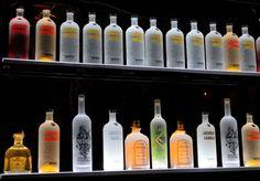 DIY illuminated bottle shelves