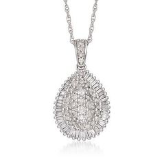 .84 ct. t.w. Diamond Teardrop Necklace In 14kt White Gold