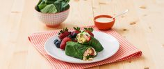 California BroccoLeaf Wraps! Arrange some quinoa, salmon, avocado, strawberries, almonds and green onions lengthwise along the bottom third of each leaf, leaving a small border at the ends. Drizzle Creamy Lime Dressing evenly over top. Starting at the bottom, fold leaf over filling, fold in sides and roll up tightly to enclose filling. Cut each wrap in half and enjoy! #EatGreen #Healthy #Nutrition #CleanEating