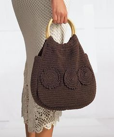 DODA CROCHET: Risultati di ricerca per borse  -  brown crochet handbag/purse w/ circle motifs appliques