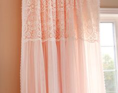 Peach Pink Ruffle Embroidery Lace Overlay Ruching Luxury Tulle Sheer Shabby Chic Cottage French Paris Double Layer Curtain