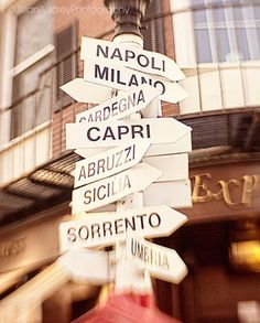 Italy City Signs Photograph Street Signs print Boston Photography Map City Print Lead me to Italy Home Decor Wall Art USD) by JillianAudreyDesigns Italian Party, Italian Theme, Hotel Secrets, Thinking Day, Street Signs, Sorrento, Turin, Home Decor Wall Art, Italy Travel
