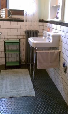 Black Subway Tile with Grout | Black hexagonal tile floor and white subway tile…                                                                                                                                                                                 More