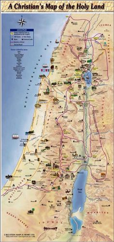 Where JESUS Walked a christian map of the Holy Land oh & look at Philistine sounds like Palestine? --> Through this many places find their real location in the map! Religion, Cultura Judaica, Heiliges Land, Bible Mapping, Jesus Christus, The Good Shepherd, Bible Knowledge, Scripture Study, Kirchen