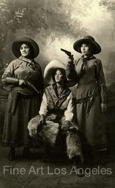 Vintage Photo Three Cowgirls with Guns 1900 10 5x17   eBay