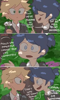 Adrien and Marinette get married plus Ladybug and Chat Noir finally meet! This is the first part of the Childhood Friends AU no one asked for LOL. Miraculous Ladybug Fanfiction, Miraculous Ladybug Memes, Ladybug Comics, Miraclous Ladybug, Marinette And Adrien, Name Art, Childhood Friends, Star Vs The Forces, Writing Inspiration