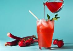 Strawberry-Rhubarb Soda made at home offers all-natural bright color and flavor.