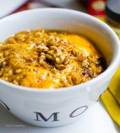 Pumpkin Pie Oatmeal with Pumpkin Cream. Vegan. Omega-3 Boosted!