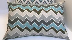 Village blue and grey zigzag 12x16 lumbar accent by ShadoBox, $16.00
