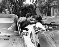 "lifefreedom28:  Anna Karina and Jean-Paul Belmondo on the set of ""Pierrot le fou"" directed by Jean-Luc Godard France 1965 (unknown)"