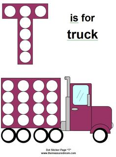 t is for truck free printable dot page