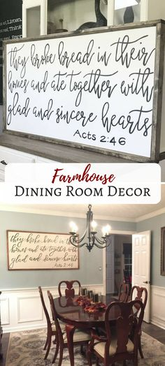 "I want this wood sign for my dining room ""They broke bread"" Acts 2:46.  #farmhouse #ad"