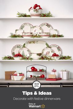 Dress up your dinnerware by creating a festive holiday display! #holiday #christmas #dinnerware #serveware #dinnerwaredisplay #holidaytable