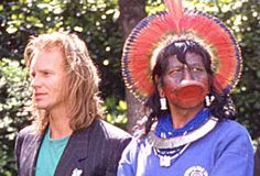 The Chief Raoni and Sting in in Paris. Sting Musician, Build A Better World, Cuthbert, New World Order, Worlds Of Fun, Police, Singer, Shit Happens, Concert