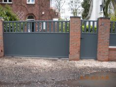 Rheinholz has metal stuff in this colour. Grey Front Doors, Ral Colours, House Front, Green And Grey, Kerb Appeal, Garage Doors, Exterior, Gates, Outdoor Decor