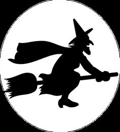 Illustration of a witch flying on a broomstick : Free Stock Photo