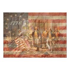 The First American Flag X Invitation Card Betsy Ross flag superimposed over The Birth of Old Glory, by Moran. Betsy Ross presenting the first American flag to George Washington. Great of July invitation. Personalize with your info. First American Flag, American Pride, American History, Independence Day Pictures, Patriotic Pictures, Home Of The Brave, Let Freedom Ring, American Revolutionary War, American Symbols