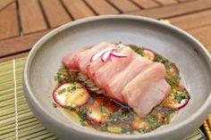 Hamachi Sashimi with Bok Choy, Radish, & Rice Wine Vinaigrette Fish Tales, Rice Wine, Sashimi, Vinaigrette, Pork, Meat, Cooking, Kale Stir Fry, Kitchen