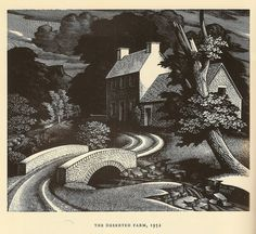 The Deserted Farm - wood engraving by George Mackley, 1952 by mikeyashworth, via Flickr