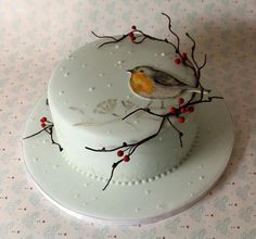 Christmas Cake Designs, Christmas Cake Decorations, Christmas Desserts, Christmas Cakes, Christmas Themed Cake, Bird Cakes, Cupcake Cakes, Flower Cakes, Penguin Cakes