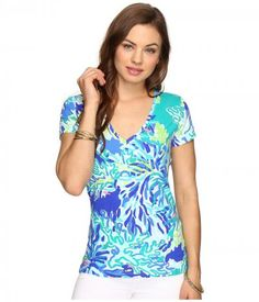 Lilly Pulitzer - Michele Top (Brilliant Blue Wade and Sea) Women's T Shirt