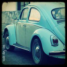 Vintage lightblue volkswagen beetle