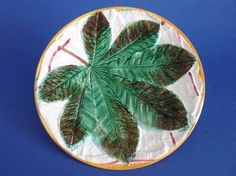 George Jones 'Horse Chestnut Leaf on White Napkin' Majolica Plate c1865