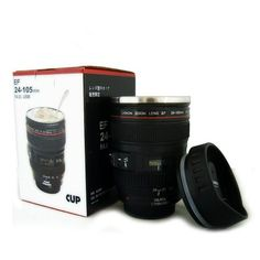 Guaranteed 100% Creative 1:1 EF 24-105 camera lens cup Canon Stainless steel mug lens cup coffee with lid as gift